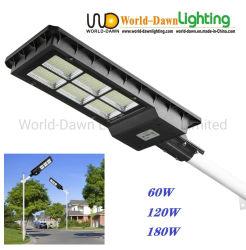 Wasserdichtes IP65 integriertes 120W 180W alle in einem Solarstraßenlaterneder Solarstraßenbeleuchtungs-preiswerten Preis-Bewegungs-Fühler-Garten-Lampen-LED