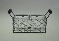 Bougie en verre Hand-Made Stand-Middle titulaire avec la taille de métal