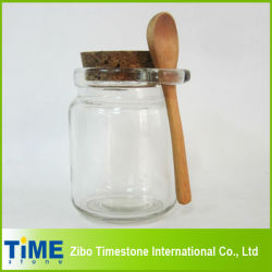 Cork Lidの8oz 250ml Thick Clear Glass Storage Jar