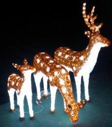 LED 모티브가 크리스마스 장식을 위한 Sika Deers를 조명했습니다