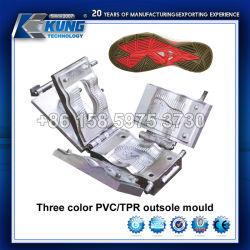 Três cores de alta qualidade PVC solado TPR Molde para calçado de desporto