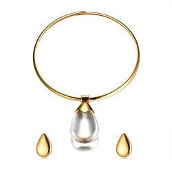 Eleganter 39mm Stutzen-Ring mit Wasser-Absinken-Form-Charme-Ohrring für Frauen