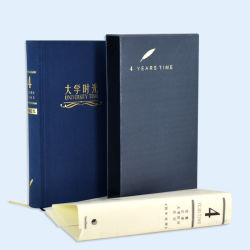 高品質の高い等級の布カバーハードカバーのノート日記の本