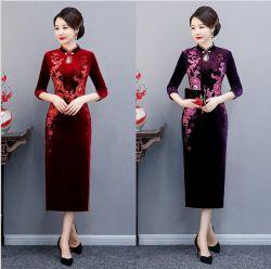 Adesivo Diamante incrustada Cheongsam saia, temperamento de moda estilo chinês Cheongsam