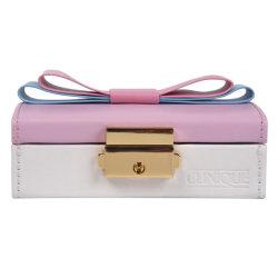 Rosa Bowknot Couro Personalizado jóias de armazenamento da caixa de embalagem com bloqueio