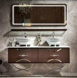 Novo Design de grãos de madeira Lavatório duplo armário de banheiro Sanitária com espelho de luz LED Zf -Bc-016