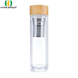 400/500 ml, doppelwandig, Glastee, Infuser-Wasserflasche mit Bamboo-Deckel (HDP-0041)