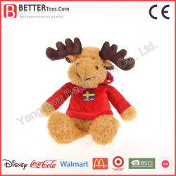 Regalo de Navidad de felpa suave decoración Reno de peluche juguete alces en Hoodie para Niños Los niños