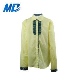小学校の均一ワイシャツの方法長い袖の黄色の女の子の学生服のワイシャツ