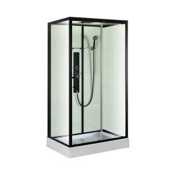 목욕탕 디자인 호화스러운 장방형 검정 매트는 강화 유리 안마 샤워 오두막 룸을 짜맞췄다