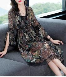 2020 весна/лето женской моды V-образный вырез горловины тонкий темперамент напечатано шелкового платья