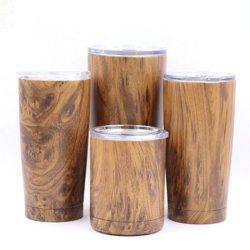 وعاء من الفولاذ المقاوم للصدأ مزدوج الجدار مقلاب من الخشب العزل البيرة أكواب القهوة الآلية