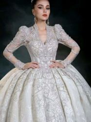 Sexy Heavy Beaded V-Line mangas largas Bling Dubai Luxury Gown Vestido de boda nupcial