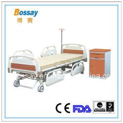 China Hospital Suprimentos Médicos Cama Manual com três gira