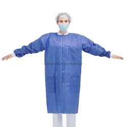 Respirável protecção médico hospitalar de PP/PP+PE/SMS/DO SMMS à prova de Não Tecidos de laboratório em azul/Jacket para médico/paciente/Visitante