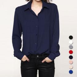 여자 블라우스 숙녀 우연한 시퐁 블라우스 형식 젊은 작풍 셔츠