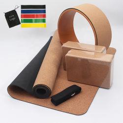 Bloco de ioga Fitness Ginásio personalizado Brick toalha bola roda Maleta esticar correia Bandas de resistência do tecido Látex Ecológico de TPE Natural Cork PU Suede Tapete de Yoga Definido