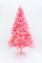 Árvores de Natal Artificiais Classic Xmas Pine Tree com suporte em metal sólido, Rosa