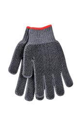 Coton/polyester Poids Lourd plaine gant tricoté avec Two-Side transparente en PVC noir Dots, Grand, gris