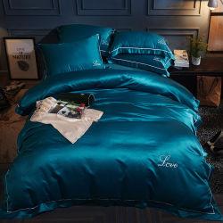 Insieme di seta dell'assestamento del coperchio del Comforter del lenzuolo del raso domestico della tessile