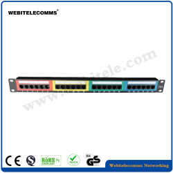 O UTP 1u CAT6 Patch Panel 24 portas do painel de rack com cor Modular Keystone