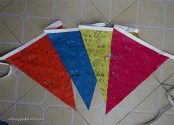 Hom Decoration Party Bunting/Pennant String Triangular Polyester Fabric Flags Printing