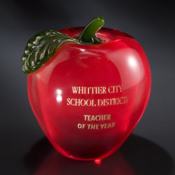 Red Glass Apple Paperweight (#GB72)