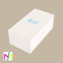 Logo personnalisé de luxe en carton électronique mis en place le tiroir de cadeaux Faites glisser la poignée mobile boîte avec du ruban