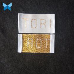 Personnaliser de haute qualité tissée à filetage fin plier Golden Edge tissé satin étiquette de vêtement