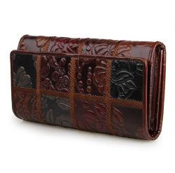 Het hete Bruine Leer Van uitstekende kwaliteit van de Stijl RFID van de Prijs van de Verkoop Goedkope Unieke Dame Wallet