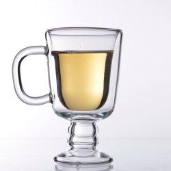 Bb16A64 아이랜드 Handmade 두 배 벽 손잡이를 가진 유리제 컵 커피