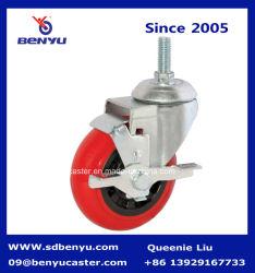 Vástago de giro rueda con rueda de poliuretano de color rojo y freno de bloqueo lateral