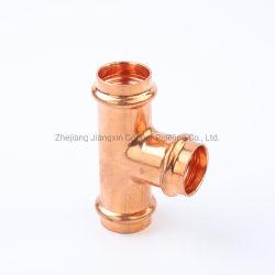 Refrigera o DN15 DN20 Bend-Through Tee-Way junta de tubo misto de cobre