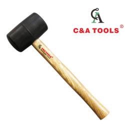 Martelo martelo de borracha preta com pega de madeira