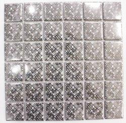 Silver ligne irrégulière l'impression laser de galvanoplastie art mosaïque des carreaux en céramique