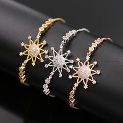 方法宝石類925の純銀製または黄銅のヒマワリのブレスレットの花のブレスレットの立方ジルコンのブレスレットのスライドのチェーンブレスレット