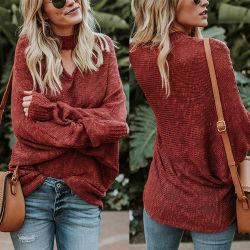柔らかく長い袖の女性のプルオーバーによって編まれるカーディガン最新のデザイン女性セーター