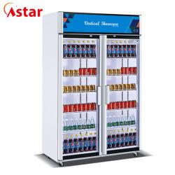 Luxe commerciaux statique réfrigérateur deux portes électrique vitrine de boissons