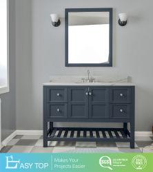 Salle de bains en marbre avec lavabo, gris Haut de la vanité de bois massif de bases de la vanité de l'hôtel personnalisé vanité Cabinet