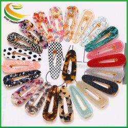 2019 Plásticos de venda quente Bb cintilantes Bobby Lágrima Pin Forma Animal de grampo de cabelo de acetato de acrílico impressão abraçadeira para meninas
