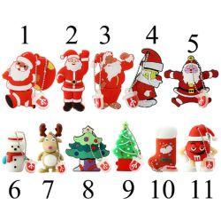 بابا نويل / شجرة عيد الميلاد / هدايا عيد الميلاد PVC USB الفلاش