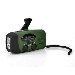 Venta caliente Portable Dynamo AM FM Receptor de radio de giro de la NOAA con linterna LED de 1 W