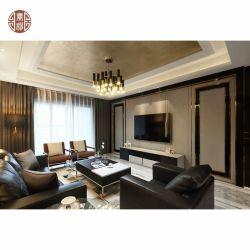 LED ライトホーム家具を配したモダンなインテリアデザインのテレビ背景 設定