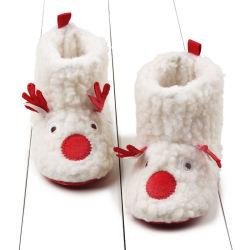 O Natal Elk Soft Sole Toddler Botas Non-Slip Sapatas do bebé
