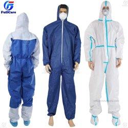 TyvekかType/5/6化学薬品または微小孔のあるか録音された継ぎ目PP/SMS/Industry/Hospital/Waterproof/Lab/Safety/Work/Boilerのスーツまたは使い捨て可能なNonwoven防護衣のつなぎ服