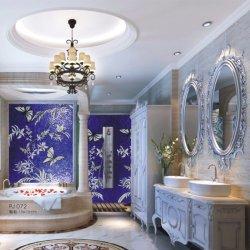 Letonia cuarto de baño de estilo de decoración elegante imagen mosaico de vidrio de flores