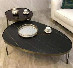 가정 대중음식점, 호텔을%s 유리제 상단을%s 가진 현대 가구 두 배 피스 잎 모양 디자인 검정 강철
