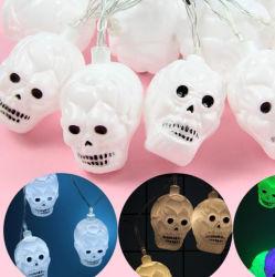 Ghost Chaîne de lumière LED de la tête de l'Halloween forme du crâne de lanterne de décoration