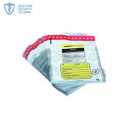 Dépôt de la Banque de sécurité en plastique de l'argent Courier inviolable sac d'étanchéité de la preuve de l'autonomie