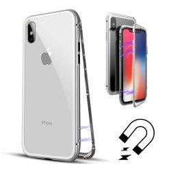 Slanke, ultradunne behuizing lichtgewicht magnetische adsorptietechnologie metalen frame Clear Tempered Glass Back Support draadloos opladen voor iPhone X